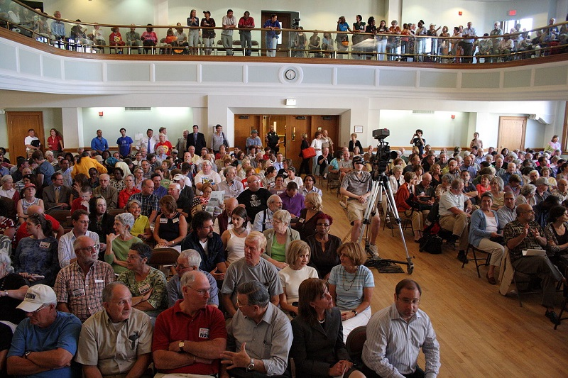 Many citizens at town hall meeting