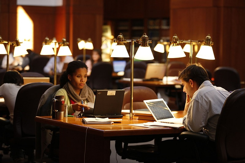 Two students in college library